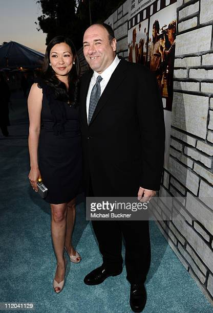 Deborah Lin and actor James Gandolfini arrive at the premiere of HBO Films' Cinema Verite at the Paramount Theatre on April 11 2011 in Hollywood...