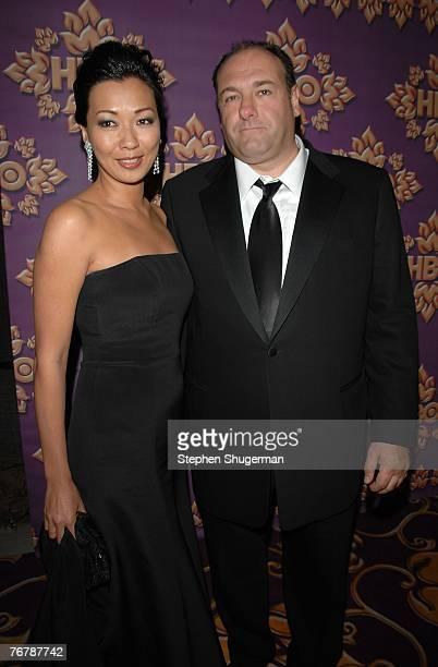 Deborah Lin and actor James Gandolfini attend HBO Emmy after party at the Pacific Design Center September 16 2007 in Los Angeles California