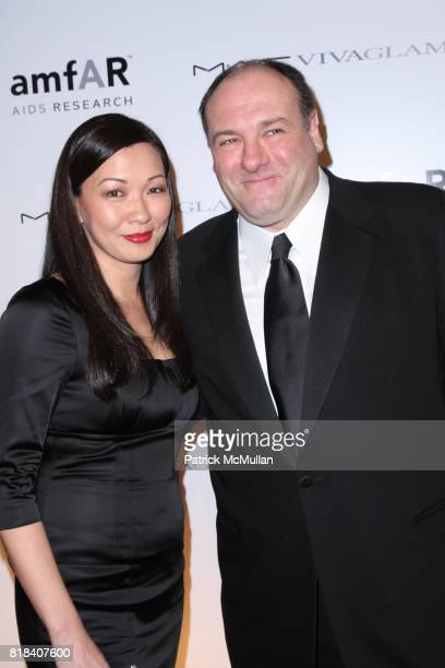 Deborah Lin and James Gandolfini attend amfAR Annual New York Gala to Kick Off FASHION WEEK at Cipriani on February 10 2010 in New York City