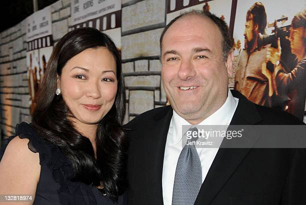 Deborah Lin and James Gandolfini attend the premiere of Cinema Verite at Paramount Theater on the Paramount Studios lot on April 11 2011 in Los...