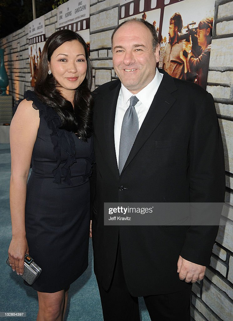 Deborah Lin and James Gandolfini attend the premiere of 'Cinema Verite' at Paramount Theater on the Paramount Studios lot on April 11, 2011 in Los Angeles, California.