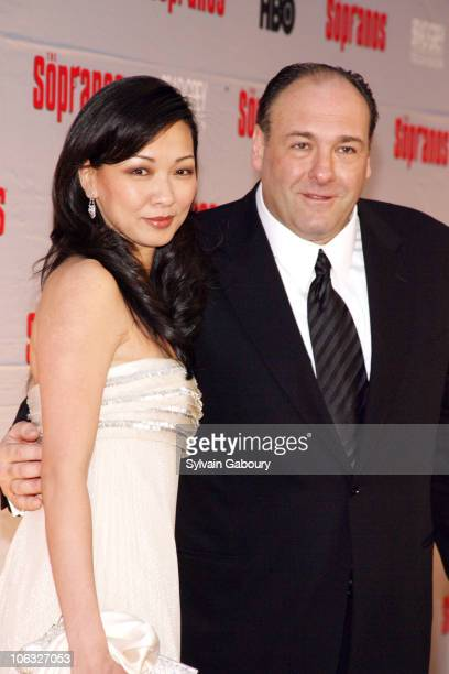 Deborah Lin and James Gandolfini during The Sopranos Final Season World Premiere Arrivals at Radio City Music Hall in New York City New York United...