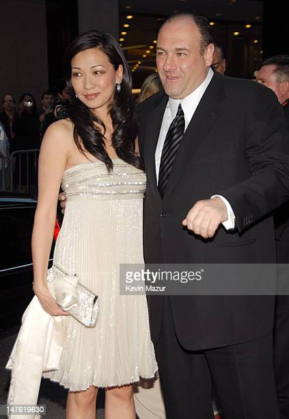 Deborah Lin and James Gandolfini during The Sopranos Final Season World Premiere Red Carpet at Radio City Music Hall in New York City New York United...