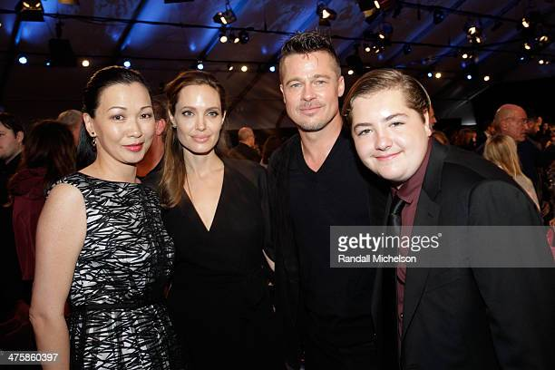 Deborah Lin Angelina Jolie Brad Pitt and Michael Gandolfini onstage during the 2014 Film Independent Spirit Awards at Santa Monica Beach on March 1...
