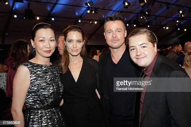Deborah Lin Angelina Jolie Brad Pitt and Michael Gandolfini onstage during the 2014 Film Independent Spirit Awards at Santa Monica Beach on March 1...