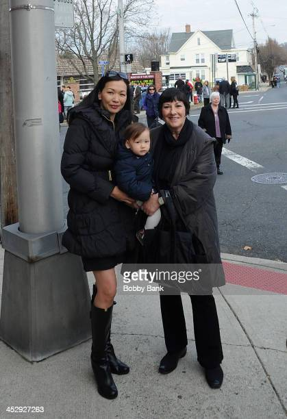 Deborah Lin daughter Liliana Ruth Gandolfini and Leta Gandolfini attend the James Gandolfini Street Naming Ceremony on December 1 2013 in Park Ridge...