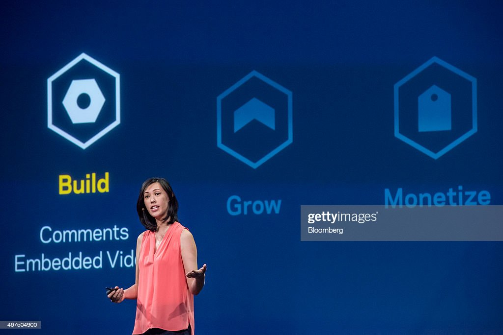 Deborah Liu, director of product marketing for Facebook Inc., speaks during the Facebook F8 Developers Conference in San Francisco, California, U.S., on Wednesday, March 25, 2015. Facebook Inc. is opening up its Messenger chat application, letting developers create software for people to add photos, videos and other enhancements to their online conversations. Photographer: David Paul Morris/Bloomberg via Getty Images