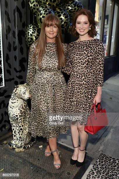 Deborah Lloyd and Ellie Kemper attend the Leopard Leopard Leopard PopUp Shop hosted by Kate Spade New York Man Repeller on September 28 2017 in New...