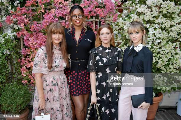 Deborah Lloyd Laverne Cox Brittany Snow and Natalia Dyer attend CFDA/Vogue Fashion Fund Show and Tea at Chateau Marmont at Chateau Marmont on October...
