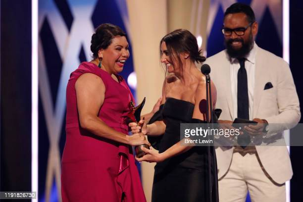 Deborah Mailman accepts the AACTA Award for Best Lead Actress In A Television Drama during the 2019 AACTA Awards Presented by Foxtel at The Star on...