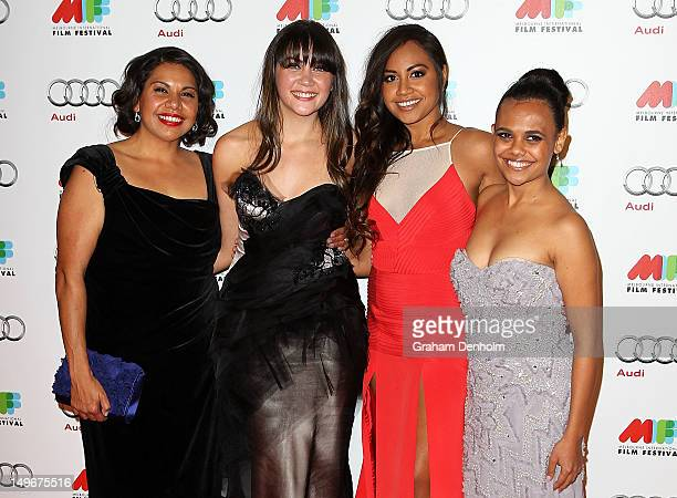 Deborah Mailman Shari Sebbens Jessica Mauboy and Miranda Tapsell arrive at the Australian Premiere of The Sapphires at the Russell Street Greater...