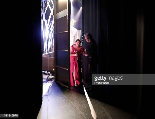 Deborah Mailman walks backstage after accepting the AACTA Award for Best Lead Actress In A Television Drama during the 2019 AACTA Awards Presented by...