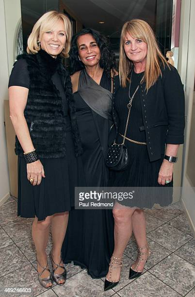 Deborah McLeod host Shanit Schwartz and publicist Marilyn Heston attending Art Los Angeles Contemporary Private Reception at the home of Sam and...