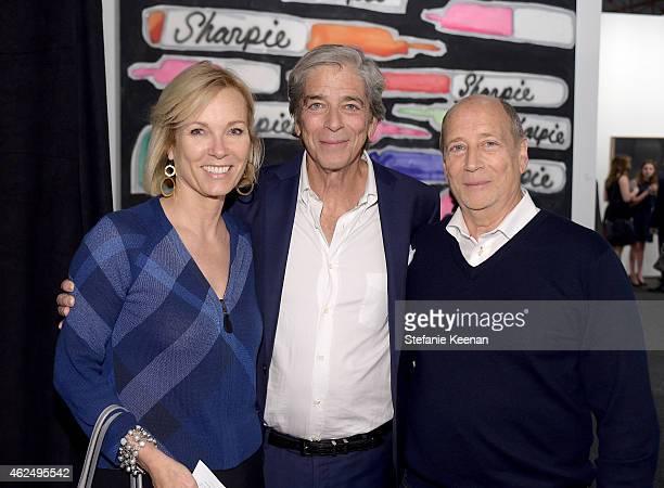 Deborah McLeod Todd Morgan and Tom Morgan attend the Art Los Angeles Contemporary 2015 Opening Night at Barker Hangar on January 29 2015 in Santa...