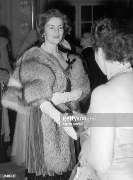 Deborah Mitford the Duchess of Devonshire attending the Royal Society of St George banquet 7th October 1954