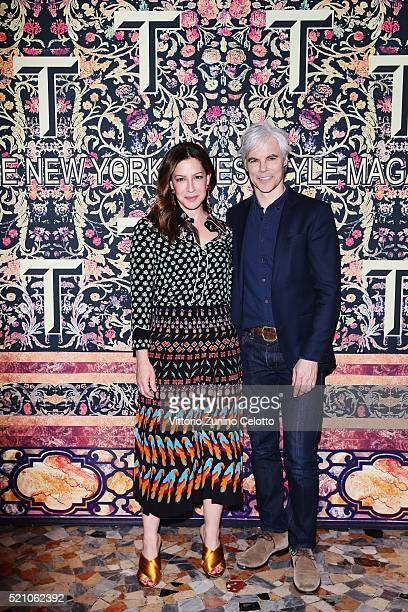 Deborah Needleman and Tom Delavan attend the T Celebration of Culture Issue And Milan Design Week at Palazzo Crespi on April 11 2016 in Milan Italy