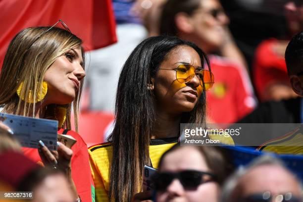 Deborah Panzokou girlfriend of Thomas Meunier during the FIFA World Cup Group G match between Belgium and Tunisia at Spartak Stadium on June 23 2018...