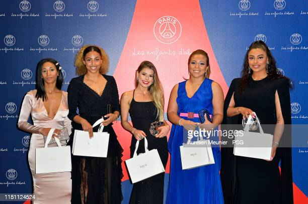 Deborah Panzokou Melissa Chovet Carol Cabrino Isabele da Silva and Nevin ChoupoMoting pose during the PSG Foundation gala diner on May 22 2019 in...