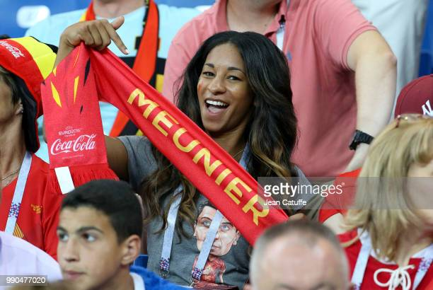 Deborah Panzokou partner of Thomas Meunier during the 2018 FIFA World Cup Russia Round of 16 match between Belgium and Japan at Rostov Arena on July...