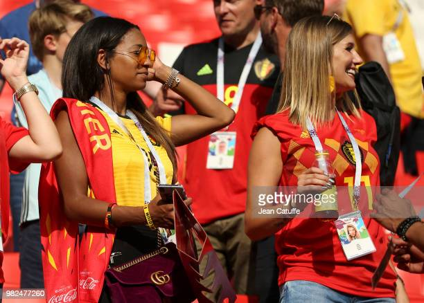 Deborah Panzokou partner of Thomas Meunier of Belgium and Noemie Happart wife of Yannick Carrasco of Belgium during the 2018 FIFA World Cup Russia...