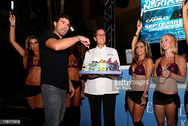 Deborah Pellegrino Harrahs Exec Pastry Chef presents Brody Jenner with a birthday day cake while celebrating his birthday at The Pool After Dark at...