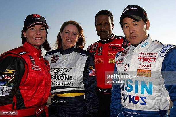 Deborah Renshaw Kelly Sutton Bill Lester Shigeaki Hattori pose for a photo prior to the NASCAR Craftsman Truck Series Florida Dodge Dealers 250 on...