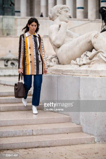 Deborah Reyner Sebag attends the Tod's Lunch Outside arrivals at Monsieur Bleu as part of the Paris Fashion Week Womenswear Fall/Winter 2019/2020 on...