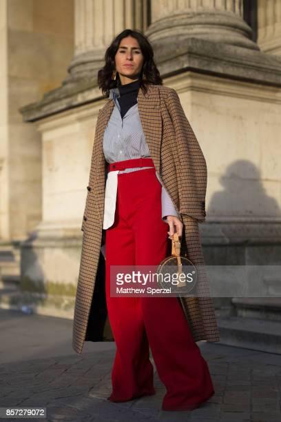 Deborah Reyner Sebag is seen attending Louis Vuitton during Paris Fashion Week wearing Louis Vuitton on October 3 2017 in Paris France