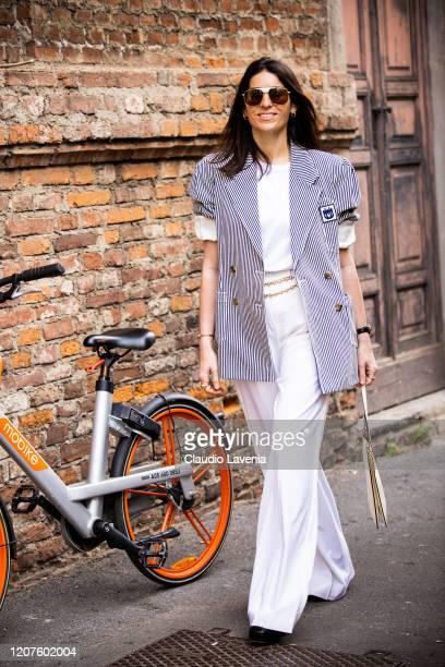 Deborah Reyner Sebag, is seen outside Max Mara Fashion show, during Milan Fashion Week Fall/Winter 2020-2021 on February 20, 2020 in Milan, Italy.