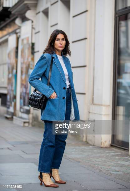 Deborah Reyner Sebag is seen wearing denim blazer and jeans outside Temperley London presentation during London Fashion Week September 2019 on...