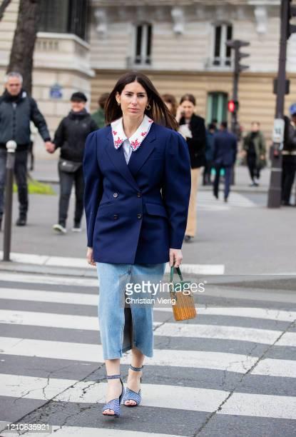 Deborah Reyner Sebag is seen wearing navy blazer, denim skirt outside Miu Miu during Paris Fashion Week - Womenswear Fall/Winter 2020/2021 : Day Nine...
