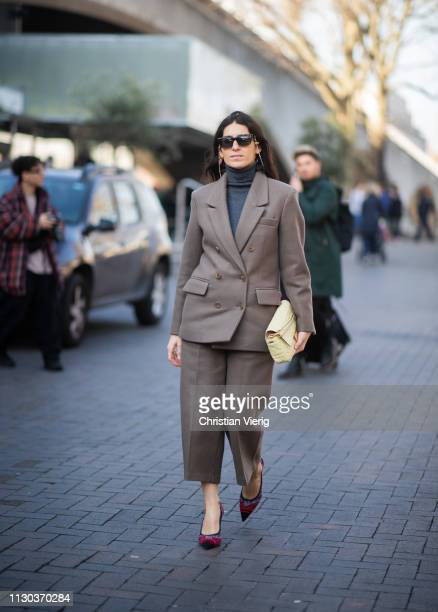 Deborah Reyner Sebag is seen wearing suit outside Roland Mouret during London Fashion Week February 2019 on February 17 2019 in London England