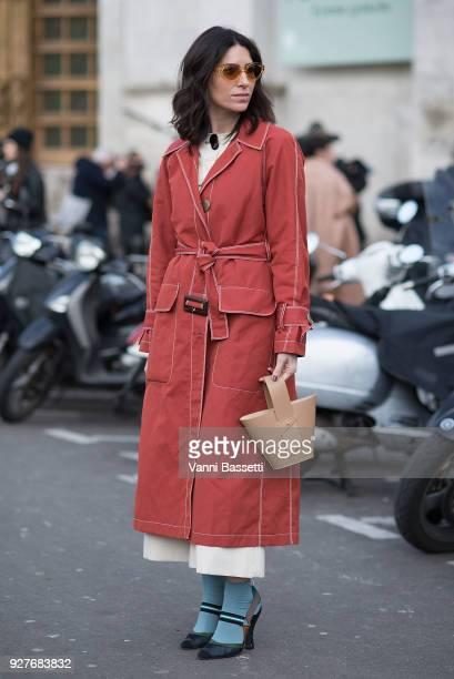 Deborah Reyner Sebag poses after the Giambattista Valli show at the Palais de Tokyo during Paris Fashion Week Womenswear FW 18/19 on March 5 2018 in...