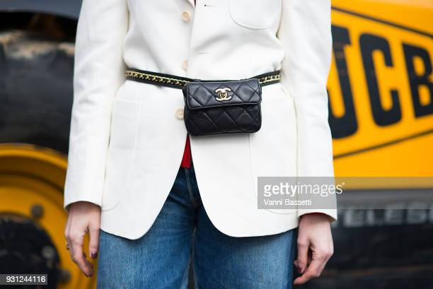 Deborah Reyner Sebag poses with a Chanel waist bag after the Beautiful People show at the Preau Dutuit during Paris Fashion Week Womenswear FW 18/19...