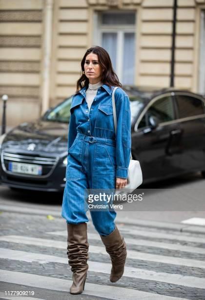 Deborah Reyner Sebag seen wearing denim overal brown boots white bag outside Altuzarra during Paris Fashion Week Womenswear Spring Summer 2020 on...