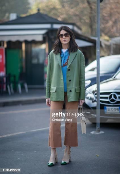 Deborah Reyner Sebag wearing green jacket seen outside Tods on Day 3 Milan Fashion Week Autumn/Winter 2019/20 on February 22 2019 in Milan Italy