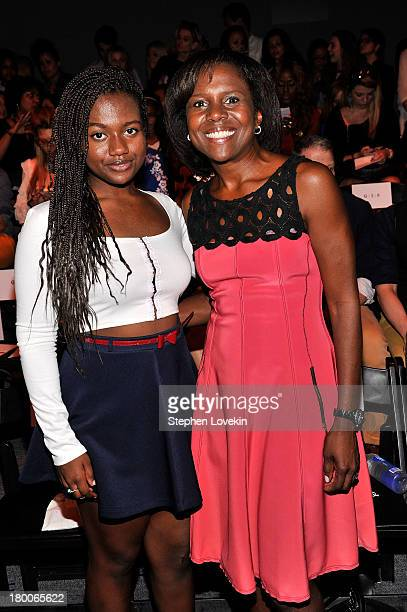 Deborah Roberts and Leila Roker attend the Tracy Reese fashion show during MercedesBenz Fashion Week Spring 2014 at The Studio at Lincoln Center on...