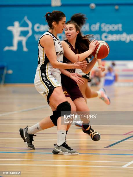 Deborah Rodriguez Perez and Maisie Harrhy are seen in action during the Women's British Basketball League match between WBBL Cardiff Archers and...