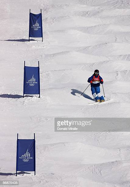 Deborah Scanzio of Italy competes in the Womens Freestyle Moguls Qualifying on Day 1 of the 2006 Turin Winter Olympic Games on February 11 2006 in...