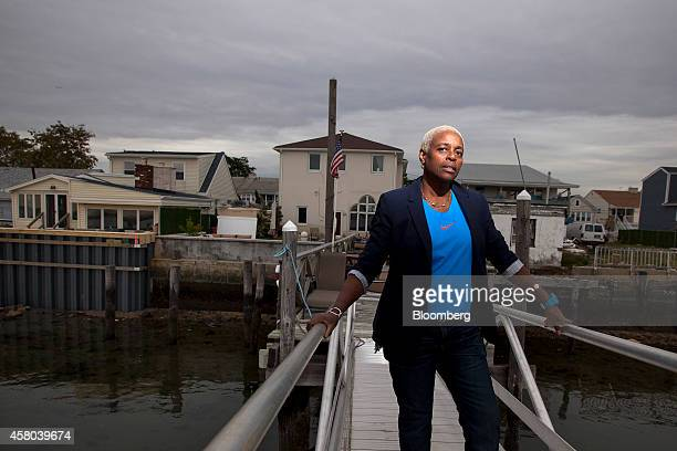 Deborah Star Reed stands for a photograph on a dock in back of her home in Averne on the Rockaway peninsula in the Queens borough of New York US on...