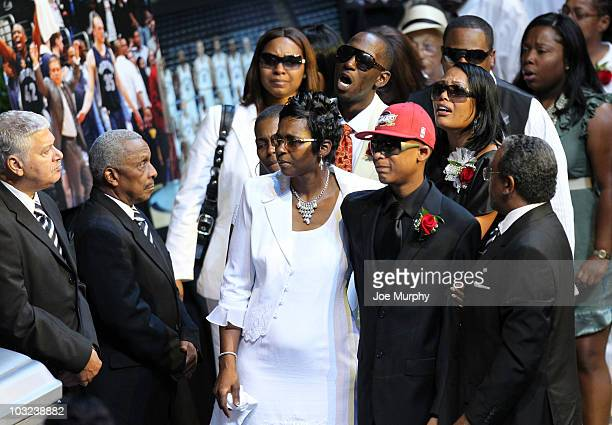 Deborah Vassar mother of Lorenzen Wright and Lorenzen Wright Jr approach the casket of Lorenzen Wright during a memorial service honoring the life of...