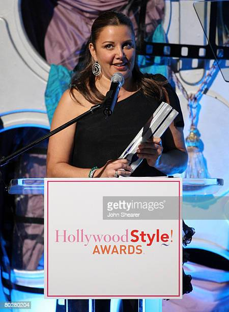 WEST HOLLYWOOD CALIFORNIA OCTOBER 07 Deborah Waknin accepts the award for Star Stylist Extraordinaire at Movieline's Hollywood Life Style Awards at...