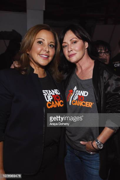 Deborah Waknin and Shannen Doherty attend the sixth biennial Stand Up To Cancer telecast at the Barkar Hangar on Friday September 7 2018 in Santa...