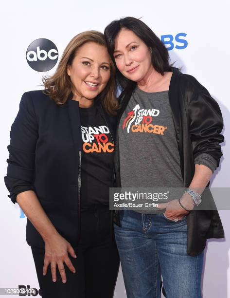 Deborah WakninHarwin and Shannen Doherty attend the sixth biennial Stand Up To Cancer telecast at the Barker Hangar on Friday September 7 2018 in...