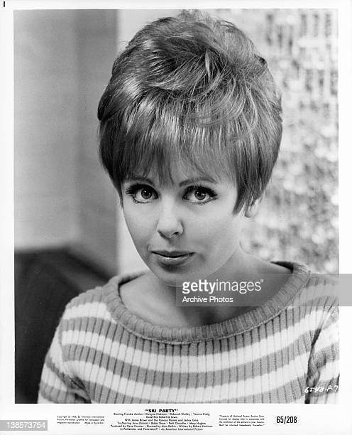 Deborah Walley looking up in a scene from the film 'Ski Party' 1965