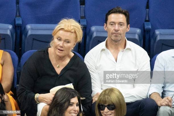 Deborra Lee Furness and Hugh Jackman at the opening night ceremonies for the US Open held at the USTA Tennis Center in Flushing Meadows Corona Park...