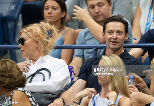 Deborra Lee Furness and Hugh Jackman attend Day 2 of the US Open Tennis held at the USTA Tennis Center on August 28 2018 in New York City