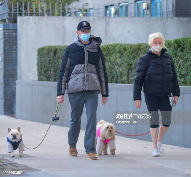 Deborra-lee Furness and Hugh Jackman are seen walking their dogs in SoHo on November 16, 2020 in New York City.