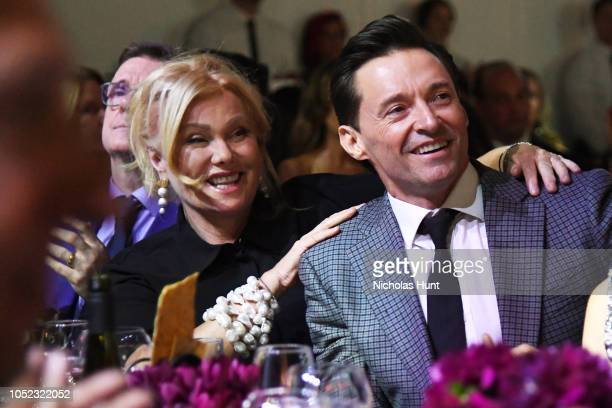 Deborralee Furness and Hugh Jackman attend God's Love We Deliver Golden Heart Awards at Spring Studios on October 16 2018 in New York City