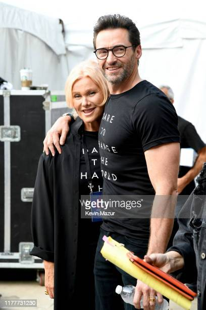 Deborralee Furness and Hugh Jackman attend the 2019 Global Citizen Festival Power The Movement in Central Park on September 28 2019 in New York City